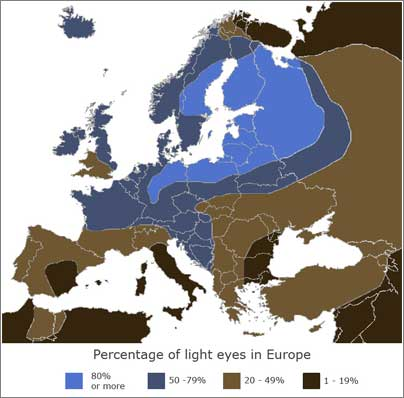 Frequency of fair eyes in Europe (c) Eupedia