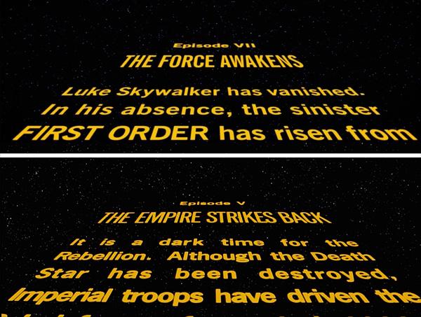 Tipografia texto movimiento inicio star wars