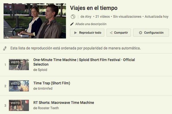 Viajes en el tiempo en YouTube