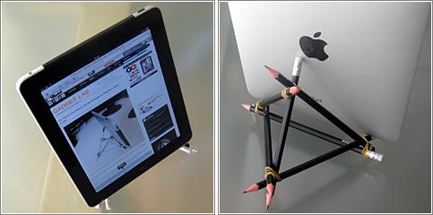 Un soporte para iPad construido con seis lápices