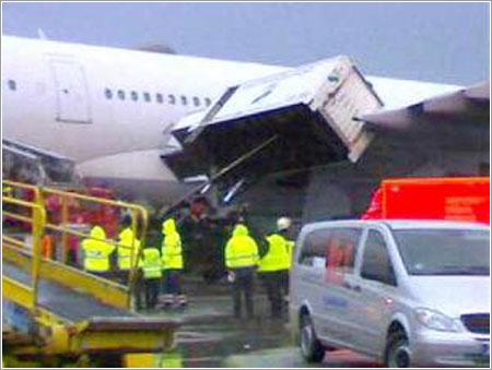 A340-600 dañado en Frankfurt