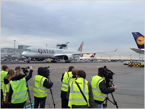 El A7-ALA a su llegada a Frankfurt