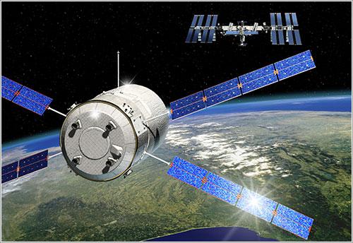 Impresión artística de la aproximación del Johannes Kepler a la ISS - ESA/D. Ducros
