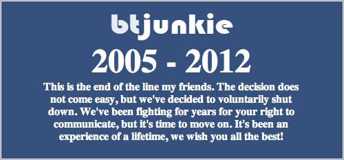 Mensaje de despedida de btjunkie