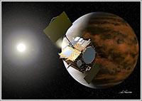 Impresión artística de la sonda llegando a Venus - JAXA