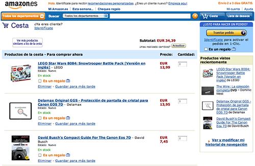 Cesta de la compra de Amazon.es