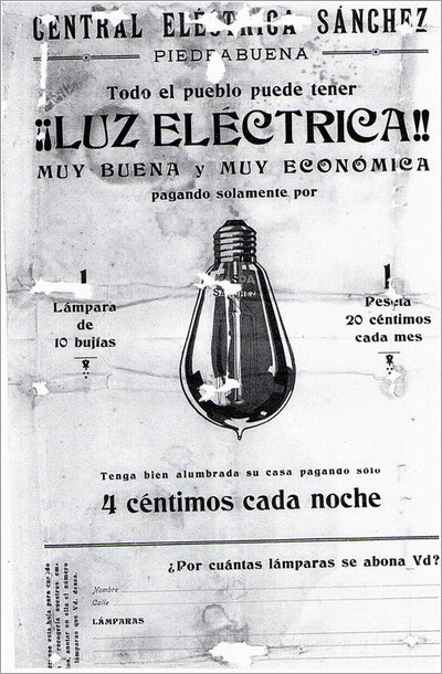 Anuncio de la Central Eléctrica Sánchez