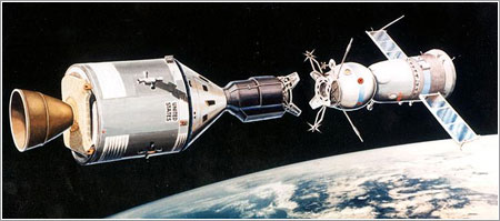 Impresión artística del encuentro de las cápsulas Apollo y Soyuz
