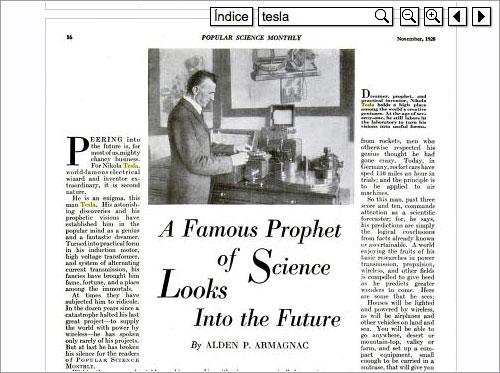 Nikola Tesla en Popular Science