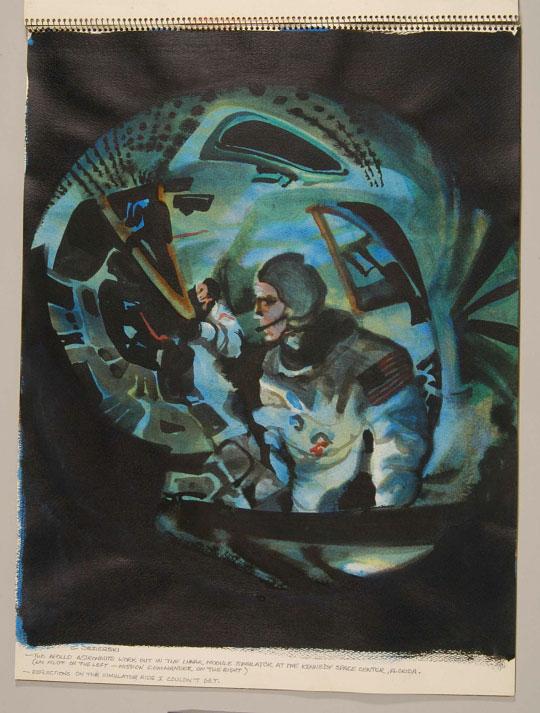 Dos astronautas en el módulo lunar por Chet Jezierski