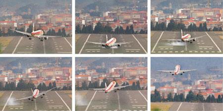 Aterrizaje frustrado en Loiu por Zigor Alkorta / Deia