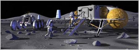 Concepto de artista de la base lunar de la NASA © NASA