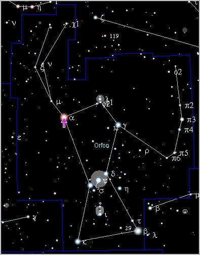 Posición de Betelgeuse en Orión