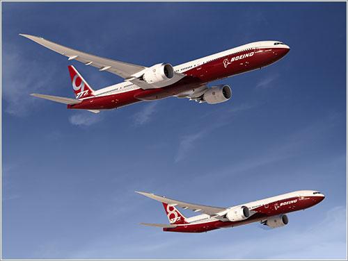 Impresión artística de las dos variantes del Boeing777X