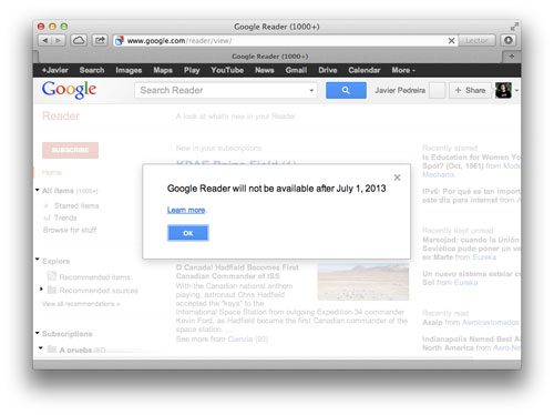 Bye Google Reader :(