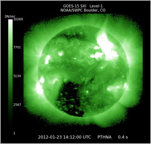 La eyección vista por el satélite GOES - NOAA