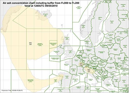Distribución de las cenias a las 12:00 UTC del 9 de mayo
