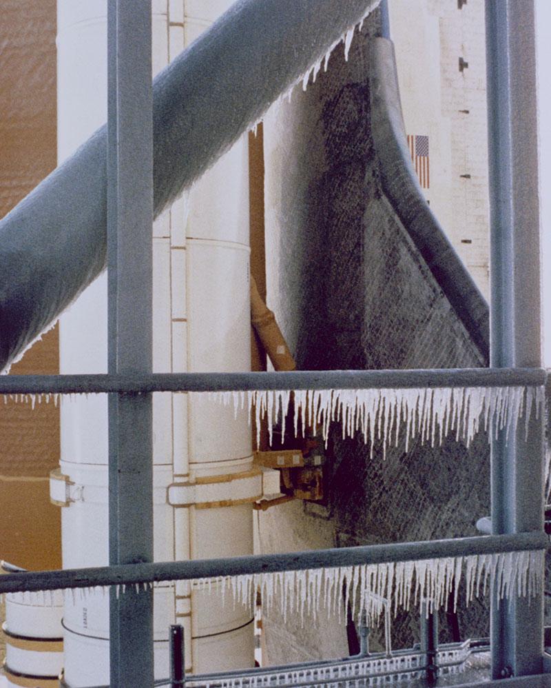 Hielo en la plataforma de lanzamiento
