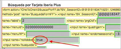 Editar formulario en chek-in Iberia