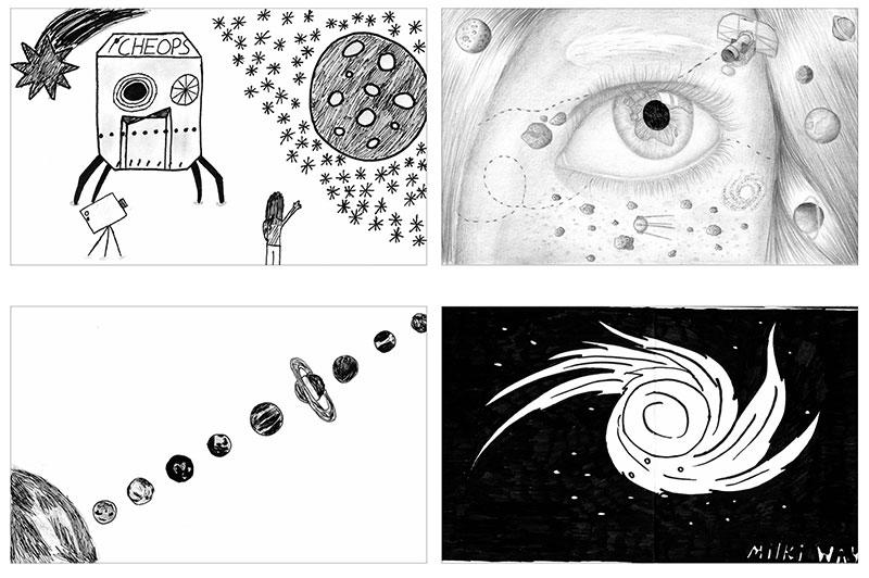 Algunos de los dibujos que llevará Cheops