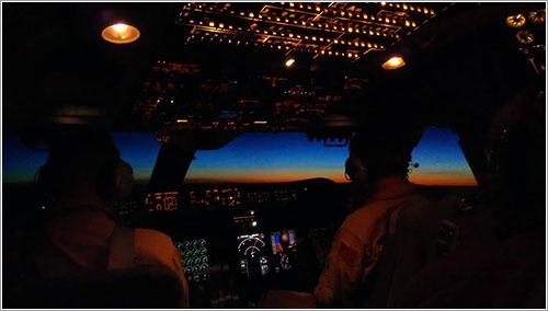 La cabina de SOFIA durante el vuelo de vuelta