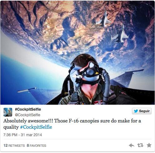 Cockpitselfie de un piloto de F-16