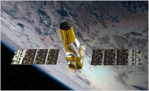 Impresión artística del Corot en órbita