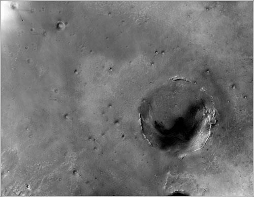 El cráter Endeavour desde órbita - NASA/JPL-Caltech/MSSS