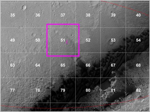 Detalle de la cuadrícula de aterrizaje de Curiosity
