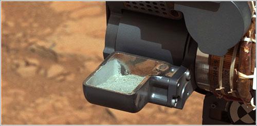 Primera muestra tomada por el taladro de Curiosity - NASA/JPL-Caltech/MSSS