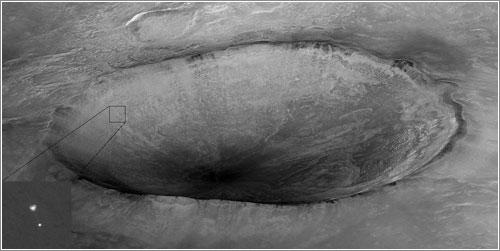 Phoenix descendiendo en Marte - NASA / JPL / U. Arizona
