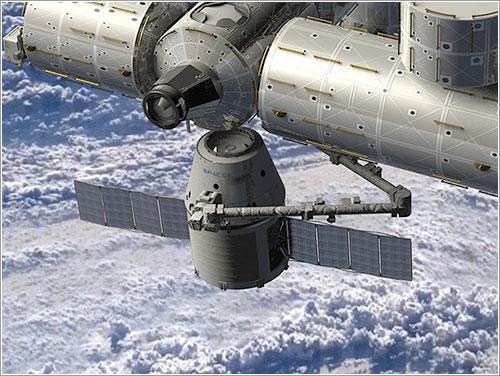 Una cápsula Dragon a punto de atracar en la ISS - NASA