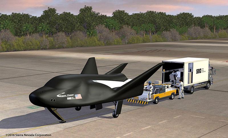 Dream Chaser de carga en la pista