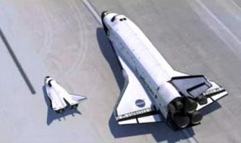 La Dream Chaser y un transbordador de la NASA
