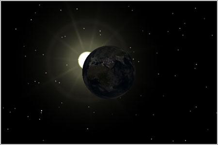 Eclipse lunar del 3 de marzo visto por Celestia © Rafa Barberá