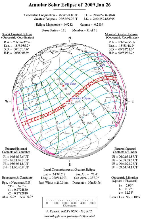 Recorrido del eclipse anular de Sol de enero de 2009 - F. Espenak, NASA's GSFC