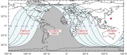 Visibilidad del eclipse de Luna de diciembre de 2011 - Fred Espenak (NASA GSFC)