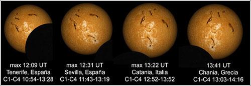 Simulación de cómo se verá el eclipse