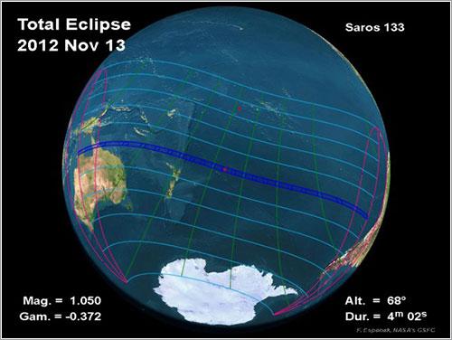 Trayectoria del eclipse - Fred Espenak / NASA