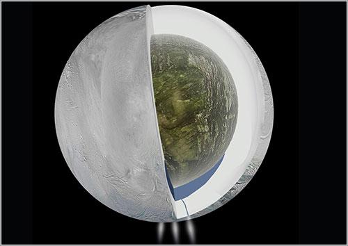 Ilustración de la estructura interna de Encélado