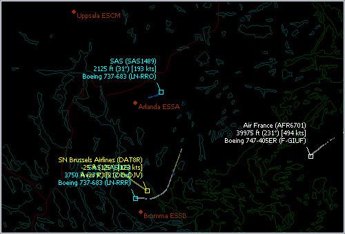 Sección de la imagen del radar de Arlanda