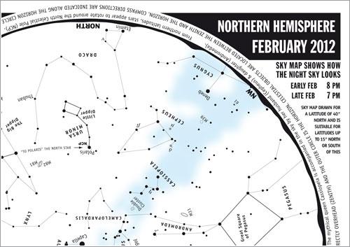 Cielo de febrero de 2012 en el hemisferio norte