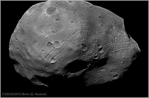 Imagen de Fobos capturada con el canal Stereo-1 / ESA/DLR/FU Berlin (G. Neukum)