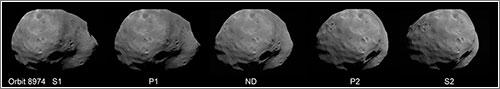 Los cinco fotogramas en cuestión - ESA / DLR / FU Berlin (G. Neukum)