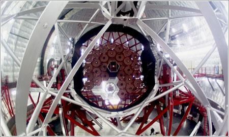 Celda del espejo primario con ojo de pez / Miguel Briganti, Servicio Multimedia IAC