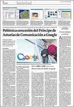 Google y el Premio Príncipe de Asturias en La Voz de Galicia