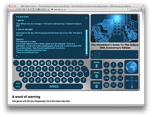 La guía del autoestpista galáctico en la web de la BBC
