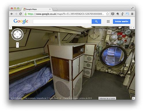 De visita por el interior de un submarino con Google Street View