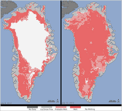 Hielo en Groenlandia - Nicolo E. DiGirolamo, SSAI/NASA GSFC, and Jesse Allen, NASA Earth Observatory