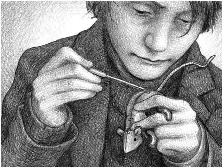 Hugo reparando un juguete © Brian Selznick